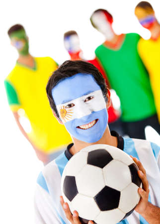 Group of footballs fan - isolated over a white background photo