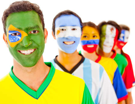 Brazil leading a Latin american team - isolated over a white background photo