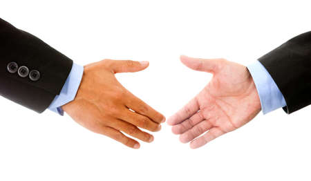 Business handshake - isolated over a white background  photo