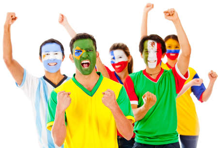 sport fan: Latinamerican group celebrating with arms up - isolated over a white background