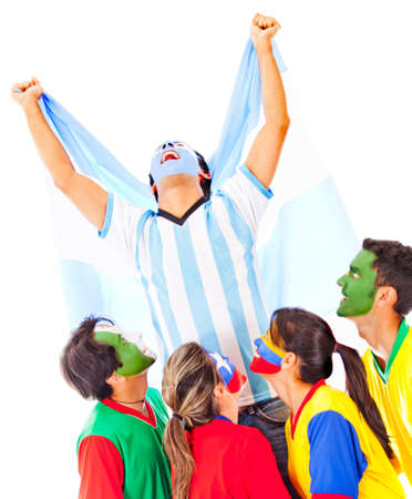 Argentina as champion celebrating his victory - isolated over white photo