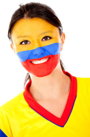 nationalistic: Happy Colombian woman - isolated over a white background