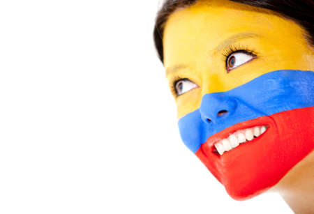 Colombian woman smiling - isolated over a white background  photo