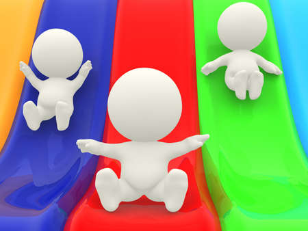colorful slide: 3D cartoon characters on slides having fun