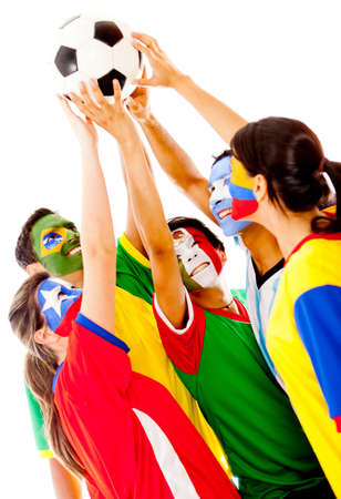 Latin American group of football fans - isolated over a white background  photo