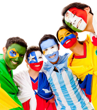 sport fan: Latinamerican group with flags - isolated over a white background  Stock Photo