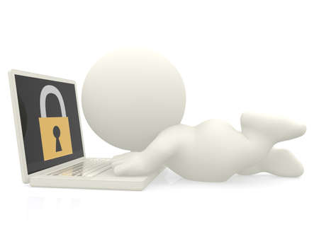 3D man with a laptop - online security concepts photo