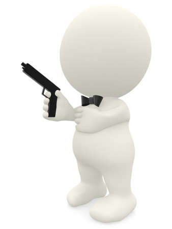 man with gun: 3D elegant man with a handgun - isolated over a white background  Stock Photo