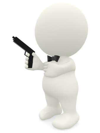 pistole: 3D uomo elegante con una pistola - isolato su uno sfondo bianco Archivio Fotografico
