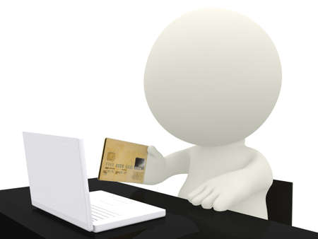 3D online shopping - isolated over a white background  photo