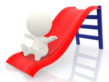 3D man playing on a slide - isolated over a white background  photo
