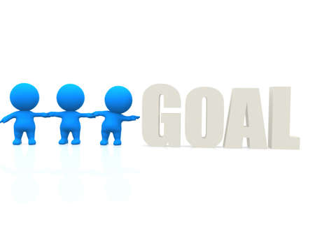 3D men trying to reach the word goal - isolated over a white background  photo