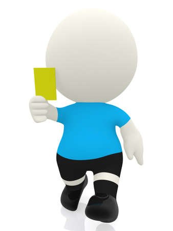 yellow character: 3D referee booking a yellow card - isolated over a white background
