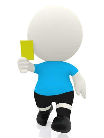 delito: �rbitro 3D reservar una tarjeta amarilla - aislados en un fondo blanco