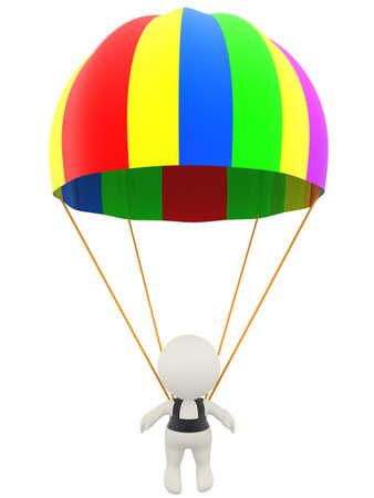 fallschirm: 3D Mann mit einem Fallschirm - �ber einen wei�en Hintergrund isoliert