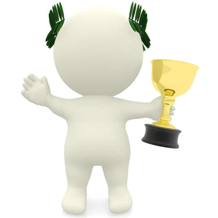 3D man winning a trophy - isolated over a white background  photo