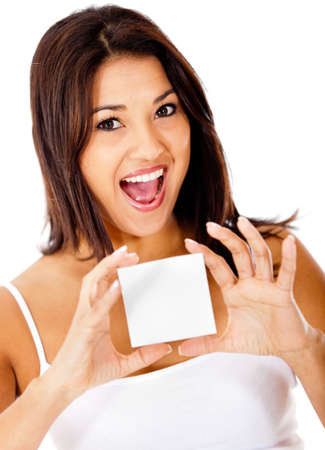 Woman holding a card - isolated over a white background  photo