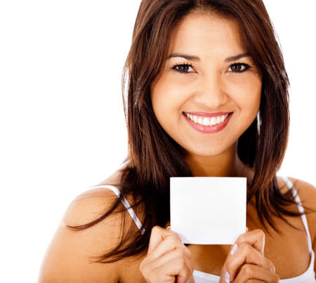 Beautiful woman portrait holding a white card - isolated  photo