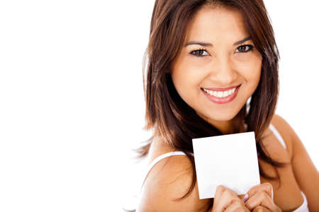 Woman holding a piece of paper - isolated over a white background  photo