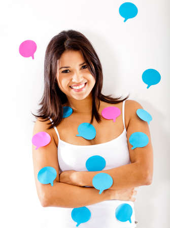 Woman with post-its - isolate dover a white background  photo