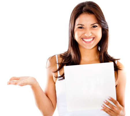 placard: Happy woman holding a paper - isolated over a white background