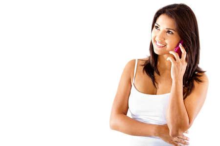 calling: Mujer hablando por tel�fono - aislados en un fondo blanco