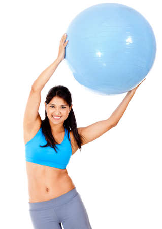 Woman exercising with Pilates ball - isolated over a white background  Stock Photo - 13287344