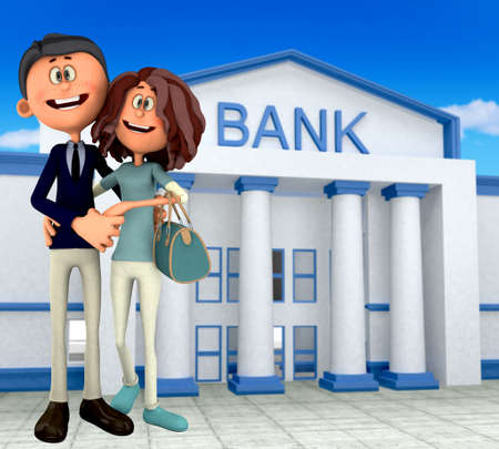3D happy couple at the bank - financial concepts  photo
