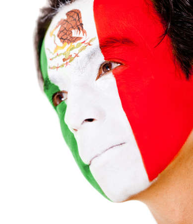 Mexican man portrait - isolated over a white background  photo