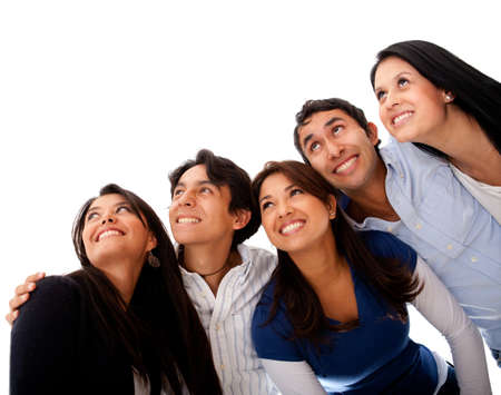 latin look: Group of people looking up - isolated over a white background
