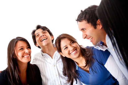 Happy group of friends talking - isolated over a white background Stock Photo - 13359964