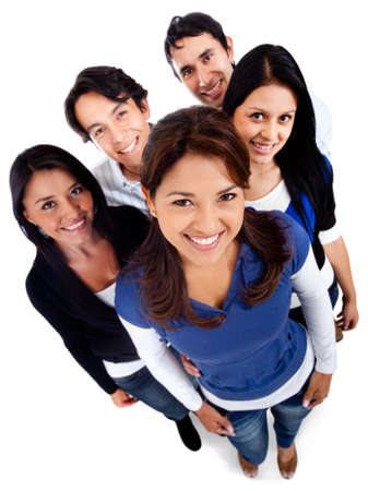 Group of young people smiling - isolated over a white background Stock Photo - 13359882