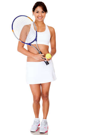 Female tennis player with racket and ball - isolated over white  photo