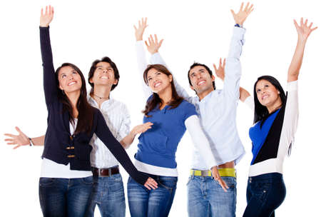 Successful group of people with arms up - isolated over white  photo