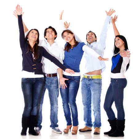 personas festejando: Feliz grupo de personas que celebraban - aislados en un fondo blanco