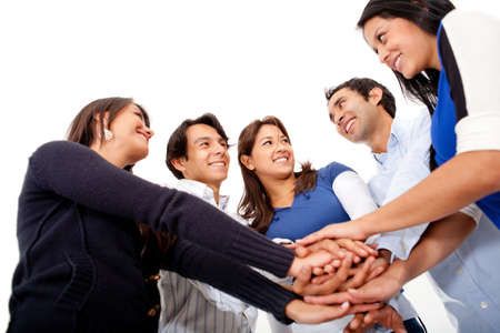 Group of people with hands together - teamwork concepts  Stock Photo - 13360048