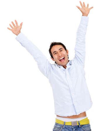 Happy man celebrating - isolated over a white background  photo