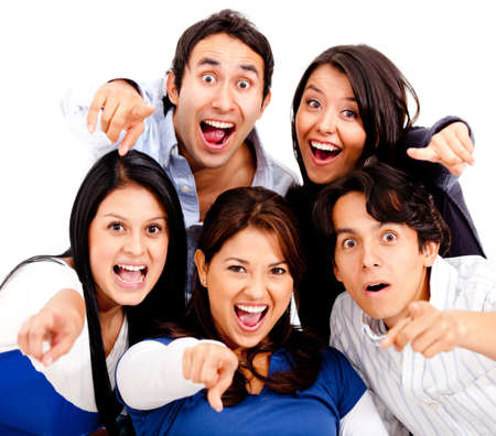 Surprised group of people pointing at the camera - isolated  Stock Photo - 13359966