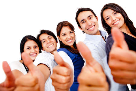 Happy group of friends with thumbs up - isolated over white  photo