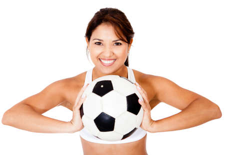 Female football player with a ball - isolated over a white background  photo