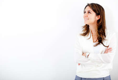 thinking person: Thoughtful businesswoman looking up - isolated over white