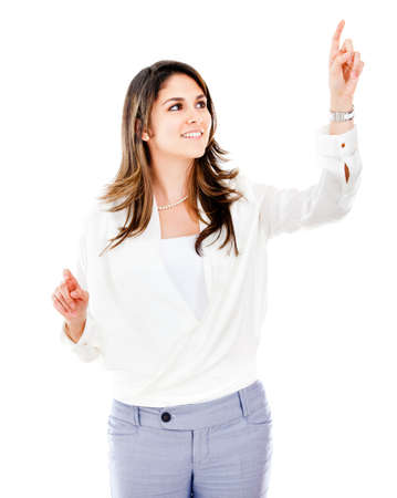 Businesswoman pointing with two fingers - isolated over white