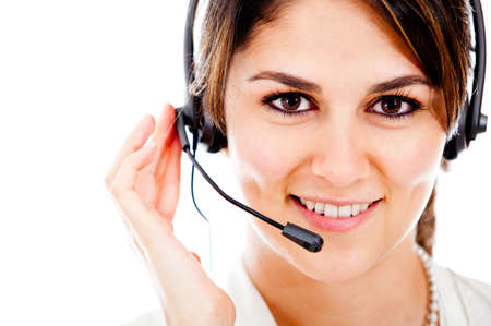 Female customer support operator with headset and smiling Stock Photo - 13359941