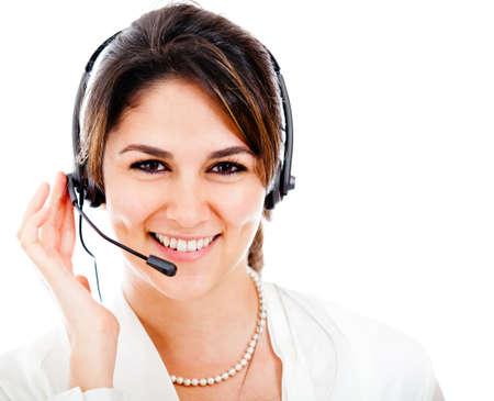 calling: Mujer feliz con kit manos libres port�til y sonriendo - aislados en un blanco Backgorund