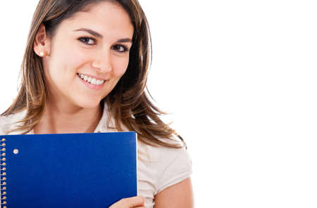 Education portrait of a woman holding notebook - isolated  Stock Photo - 13359891