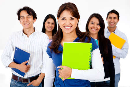 Group of students holding notebooks - isolated over a white background  photo