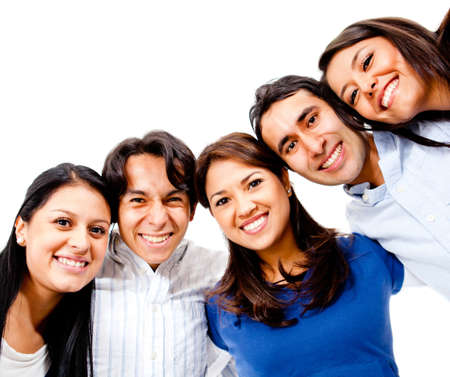 Happy group of young people smiling together - isolated  Stock Photo - 13439929