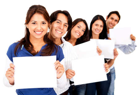 Group of people holding small banners - isolated over white  Stock Photo - 13439705