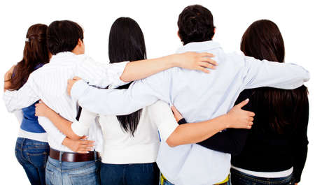 man rear view: Group of friends hugging - isolated over a white background