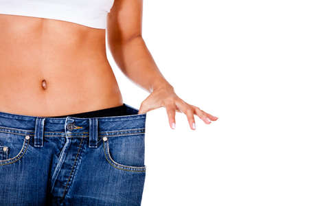 Thin woman in big pants - weight loss concepts  photo